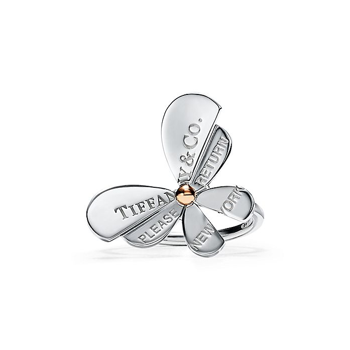 31809d8ed Return to Tiffany® Love Bugs:Butterfly Ring in Sterling Silver and 18k Rose  Gold ...
