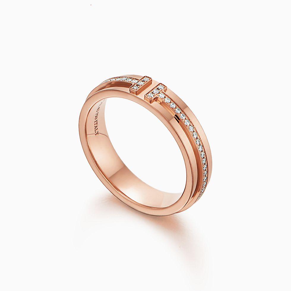 ティファニー T ツー ナローリング ダイヤモンド 18Kローズゴールド