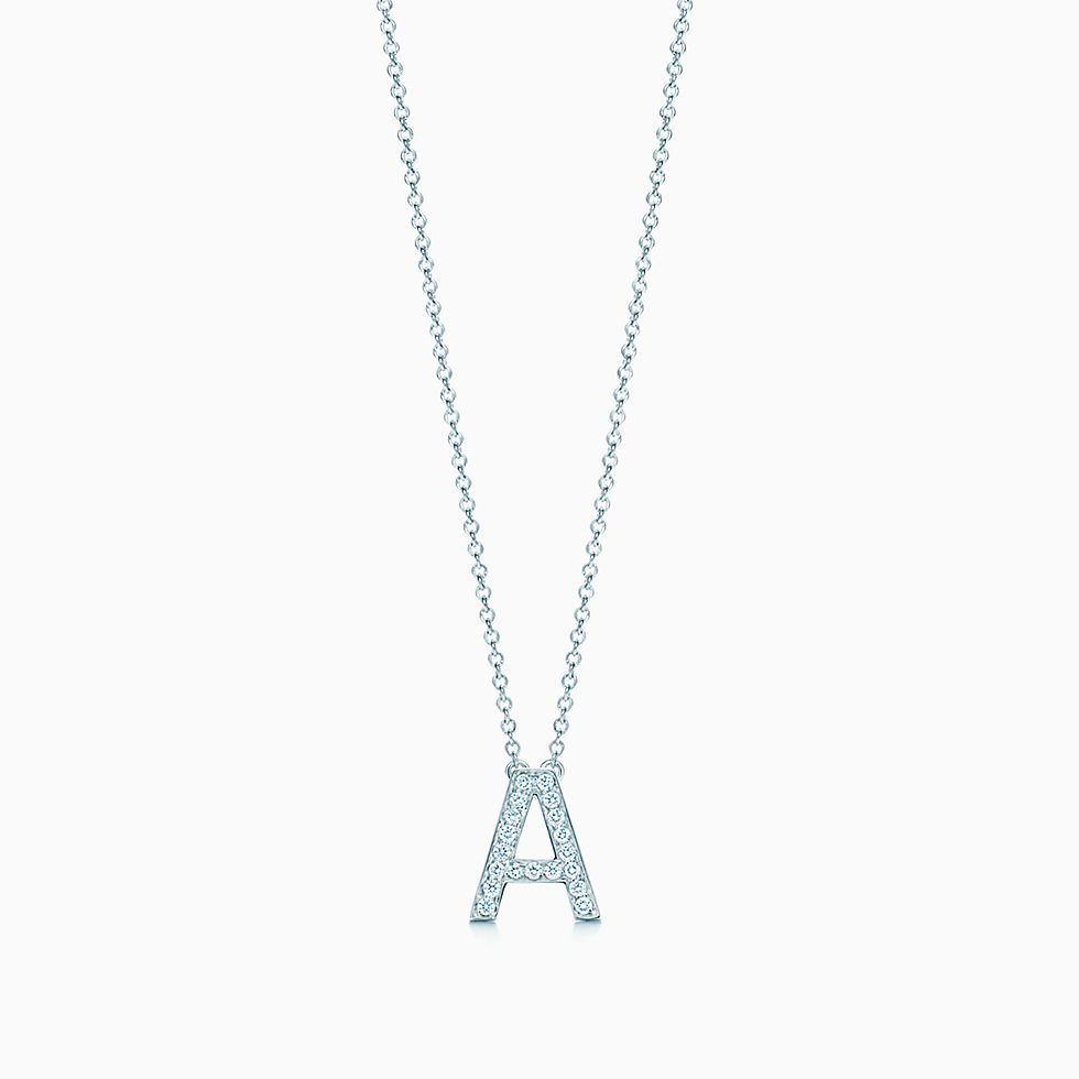 pendant k necklace diamond initial sterling silver