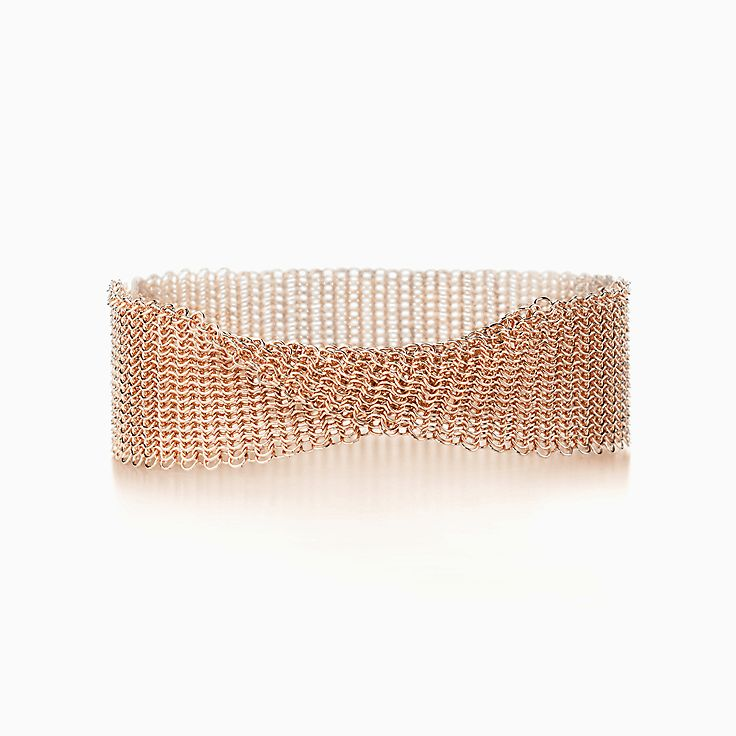 757f2457f Elsa Peretti® Mesh narrow bracelet in 18k rose gold, medium. | Tiffany & Co.