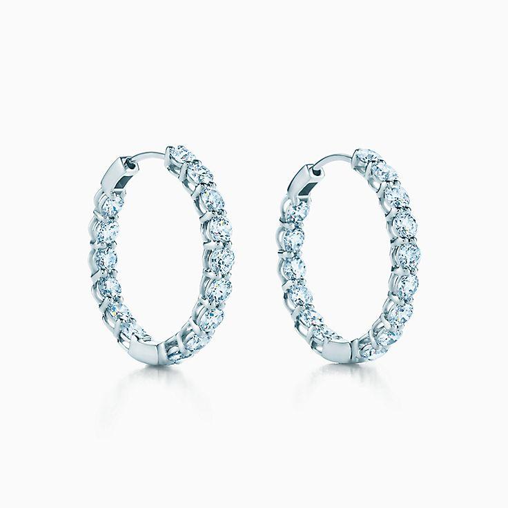 tiffany diamond hoop earrings inside out 14k diamond