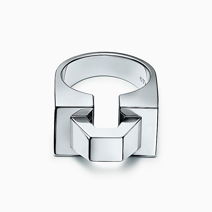 Out of Retirement block ring in sterling silver - Size 6 Tiffany & Co. t393SH
