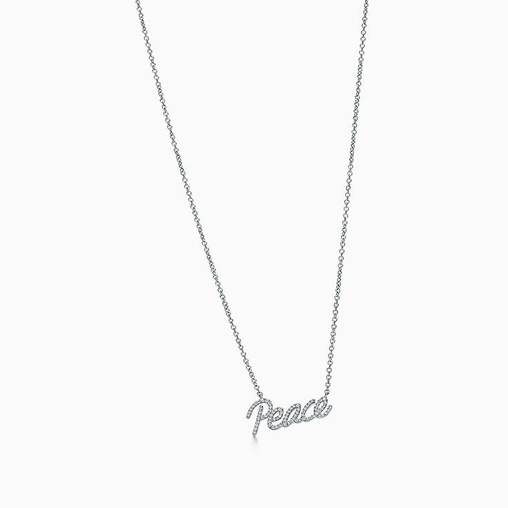 18k white gold necklaces pendants tiffany co new aloadofball Images