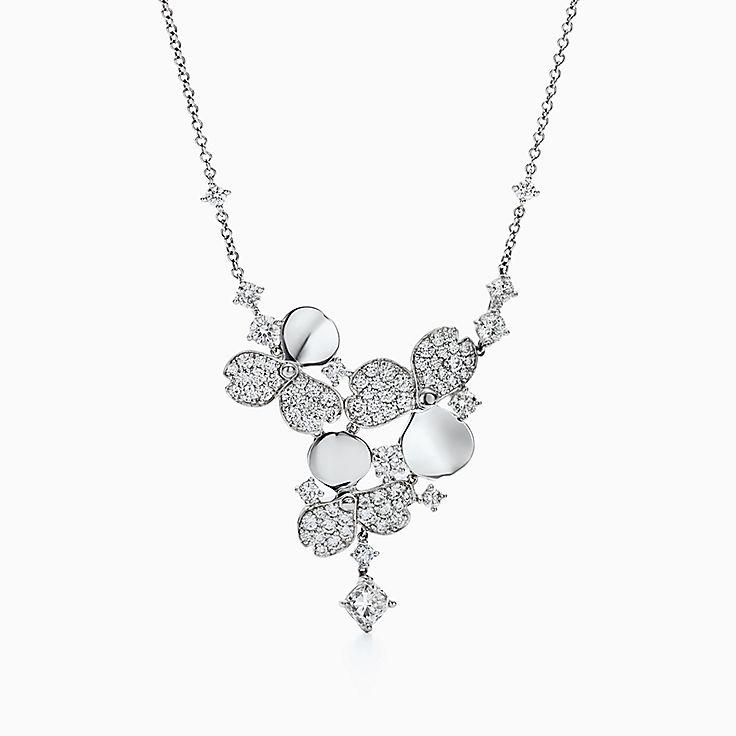 ティファニー ペーパーフラワー:ダイヤモンド クラスター ドロップ ネックレス