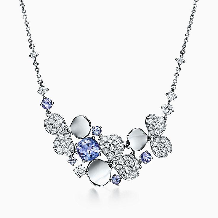 ティファニー ペーパーフラワー:ダイヤモンド&タンザナイト クラスター ネックレス