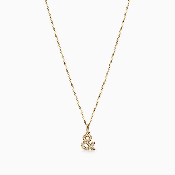 ティファニー&ラブ:アンパサンド ペンダント ダイヤモンド 18K ゴールド
