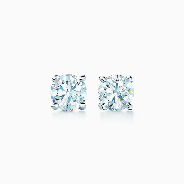 Brincos de diamantes solitários Tiffany
