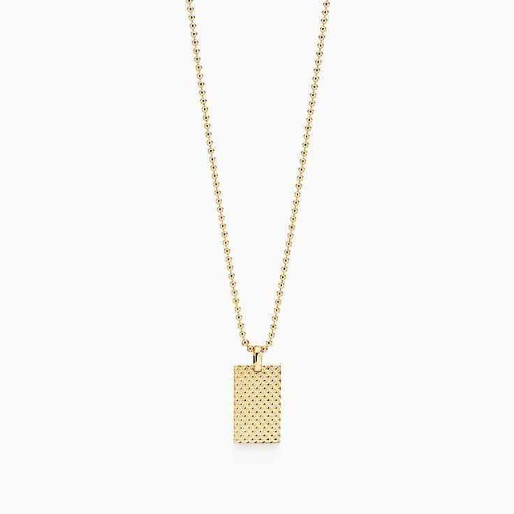 Diamond Point:Rectangle Pendant in 18k Gold