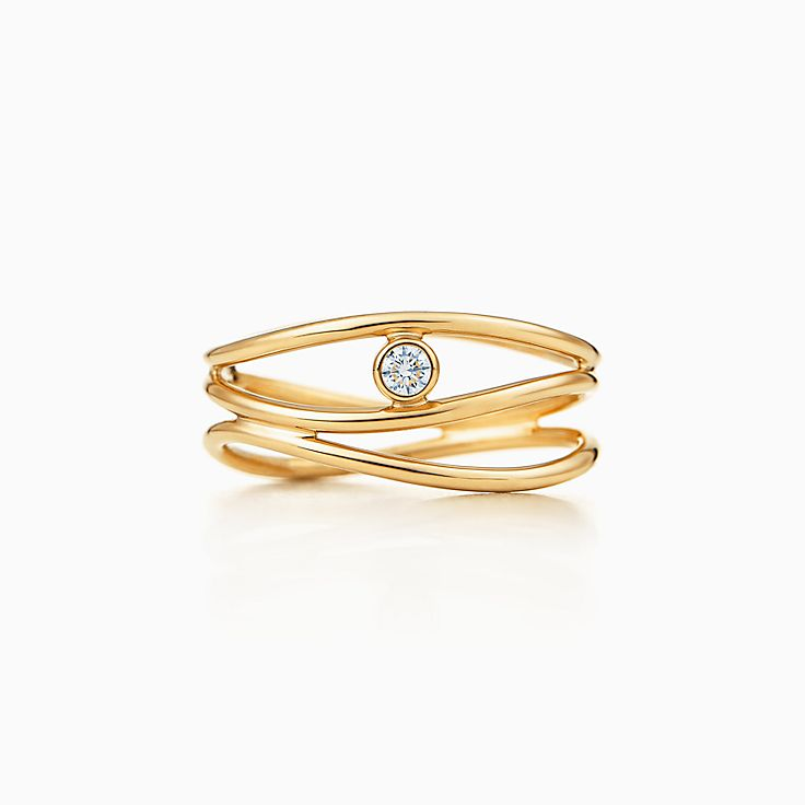 Elsa Peretti™:Трехрядное кольцо с бриллиантом Wave