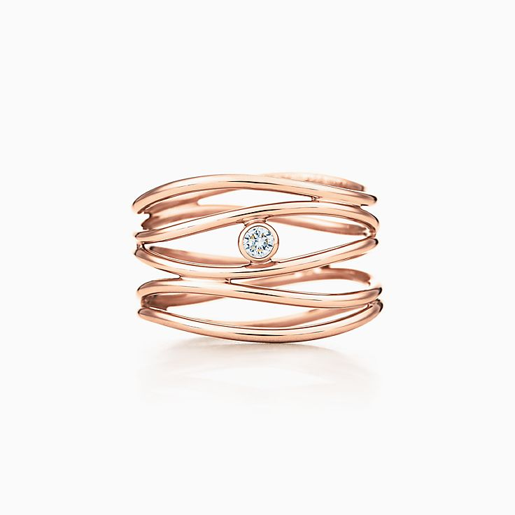 Elsa Peretti(MD):Bague à diamant à cinqrangs Vague