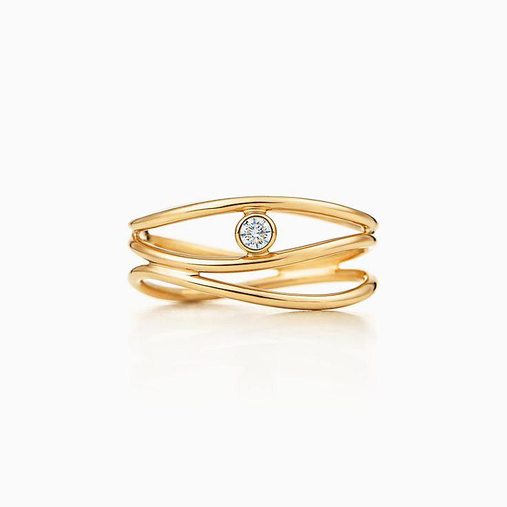Elsa Peretti(MD):Bague à diamant à troisrangs Vague