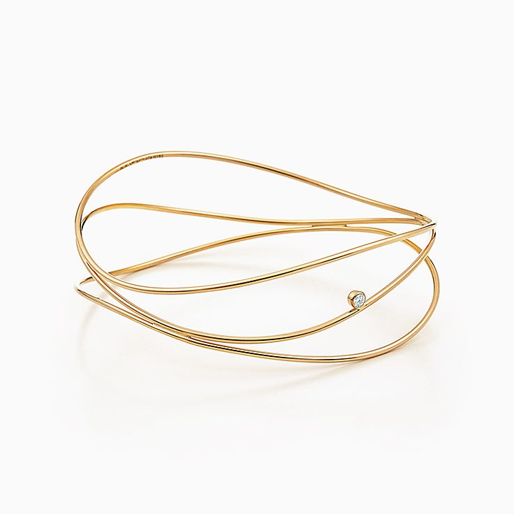 Elsa Peretti(MD):Bracelet jonc à diamants à troisrangs Vague