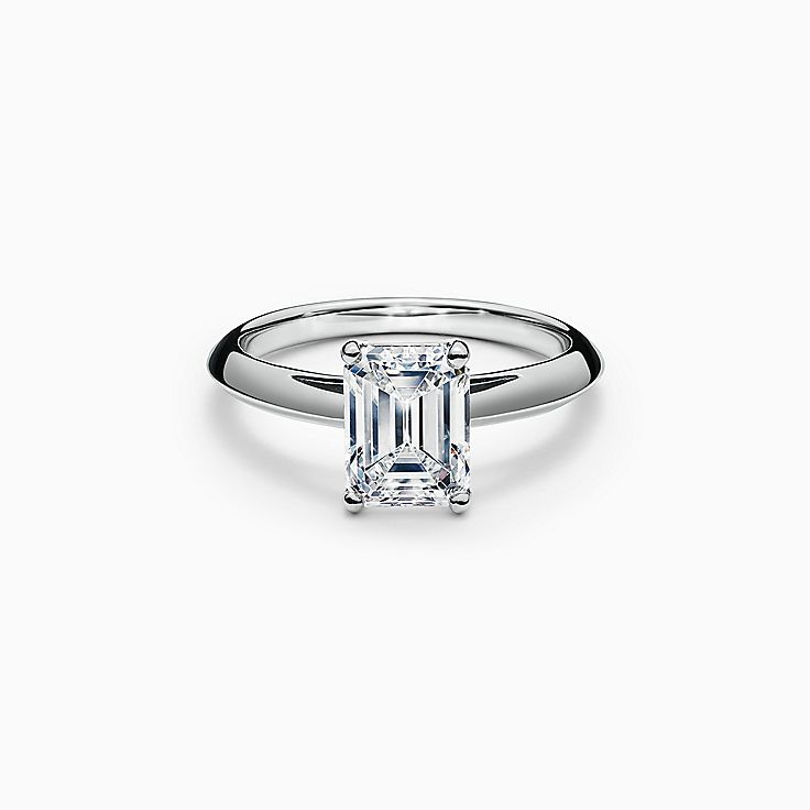 Emerald-cut Diamond Engagement Ring in Platinum