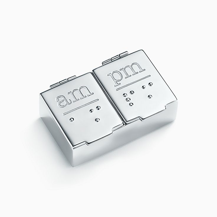 Everyday Objects:Sterling Silver AM/PM Pillbox