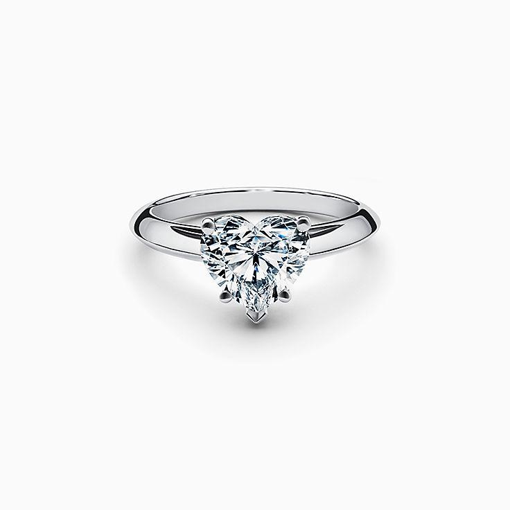 Heart-shaped Diamond Engagement Ring in Platinum