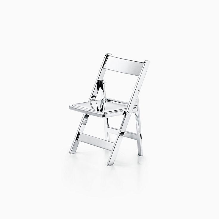 Objets du quotidien:Mini chaise pliante en argent sterling