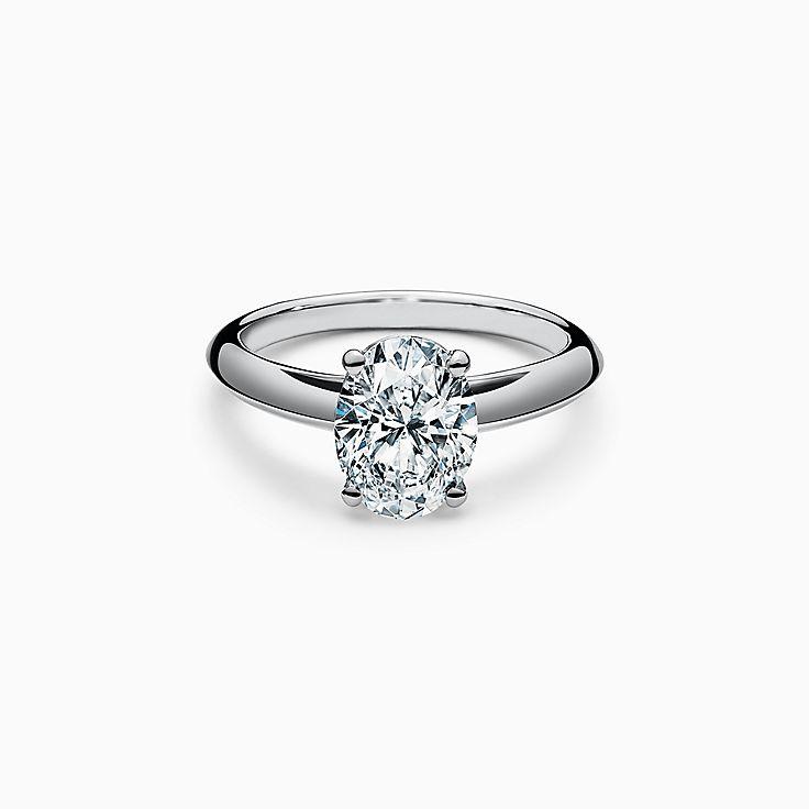 Oval-cut Diamond Engagement Ring in Platinum