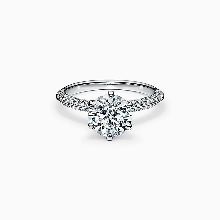Pave Tiffany® Setting Engagement Ring with a Pavé Diamond Band in Platinum