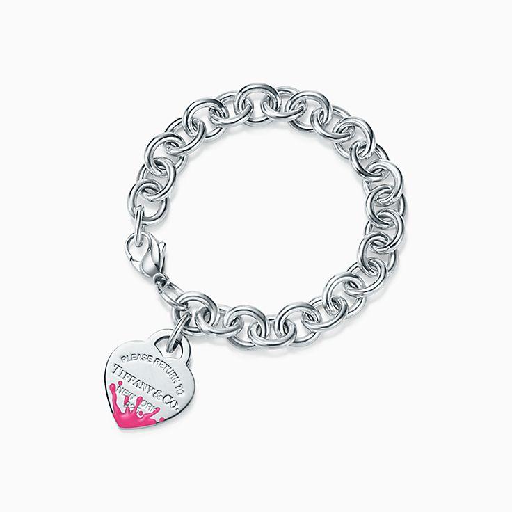 Return to Tiffany™:Браслет с подвеской в форме сердца с цветными брызгами