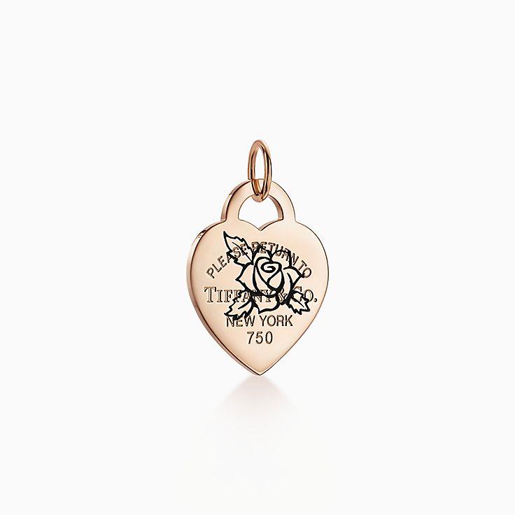 Return to Tiffany™:Подвеска-шарм в форме сердца с гравировкой в виде розыи