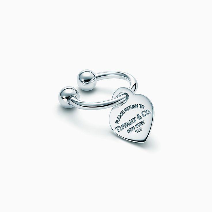 Return to Tiffany™: Anillo tipo llave con placa estilo corazón