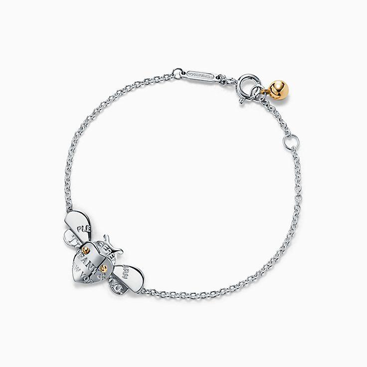 Return to Tiffany™ Love Bugs:Браслет-цепочка с пчелой из стерлингового серебра и золота 18карат