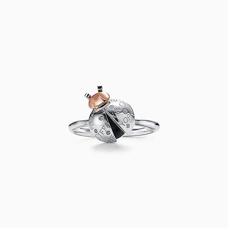 Return to Tiffany™ Love Bugs:Кольцо с божьей коровкой из стерлингового серебра и розового золота 18карат