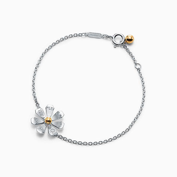 Return to Tiffany™ Love Bugs:Браслет со звеньями с маргариткой из стерлингового серебра и золота 18карат