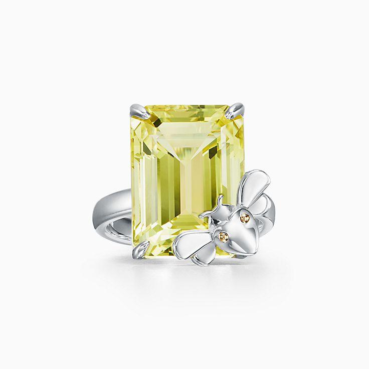 Return to Tiffany™ Love Bugs:Кольцо с пчелой из стерлингового серебра и золота 18карат с желтым кварцем