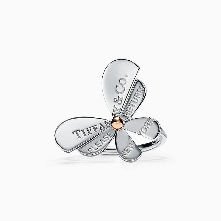 Return to Tiffany™ Love Bugs:Кольцо с бабочкой из стерлингового серебра и розового золота 18карат