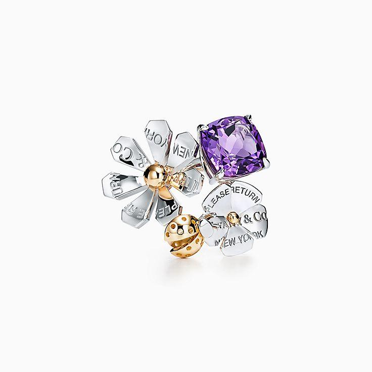 Return to Tiffany™ Love Bugs:Anillo de mariquita y flor con amatista en plata de ley y oro de 18 ct