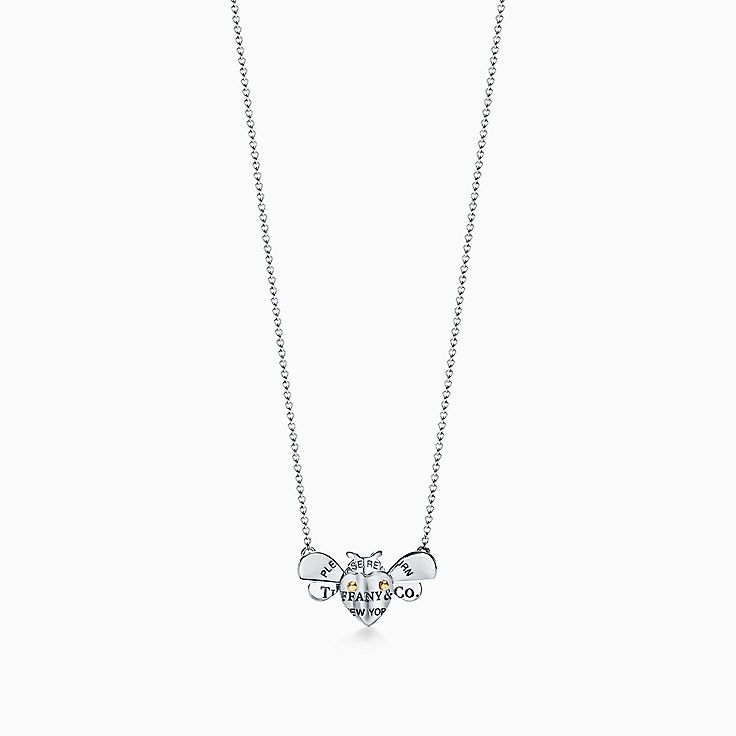 Return to Tiffany® Love Bugs:Bee Pendant in Sterling Silver and 18k Gold