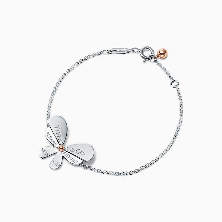 Return to Tiffany™ Love Bugs:Brazalete de mariposa con cadena en plata fina y oro rosa de 18k