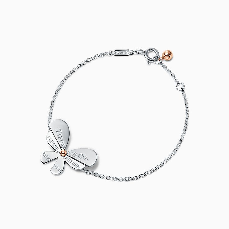 Return to Tiffany® Love Bugs:Butterfly Chain Bracelet in Sterling Silver and 18k Rose Gold