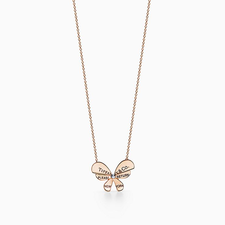 Return to Tiffany® Love Bugs:Butterfly Pendant in 18k Rose Gold and Sterling Silver