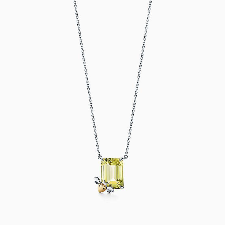 Return to Tiffany™ Love Bugs:Colgante de abeja con cuarzo amarillo en plata de ley y oro de 18 ct