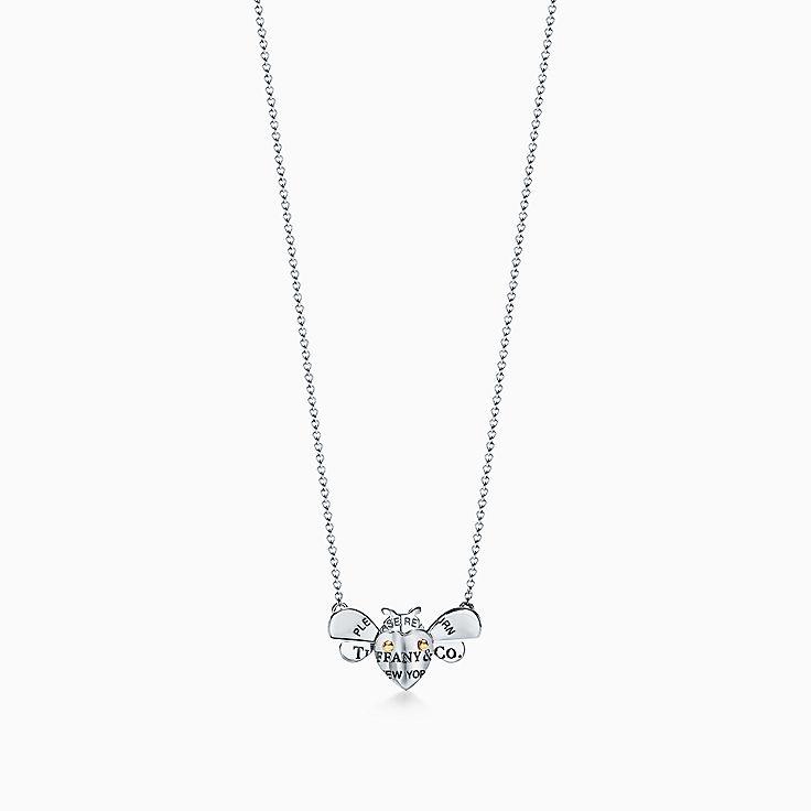 Return to Tiffany™ Love Bugs:Colgante de abeja en plata de ley y oro de 18 ct