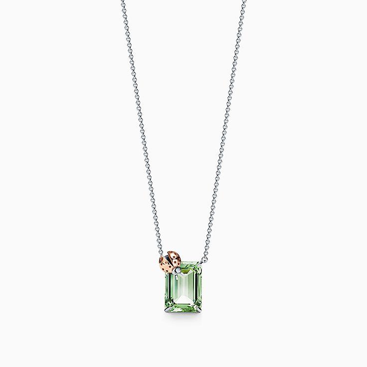 Return to Tiffany™ Love Bugs:Colgante en forma de mariquita con cuarzo verde en plata de ley y oro rosa de 18 ct