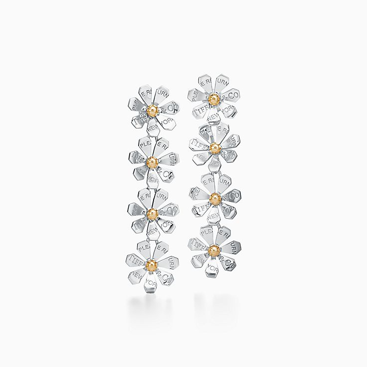 Return to Tiffany® Love Bugs:Daisy Drop Earrings in Sterling Silver and 18k Gold