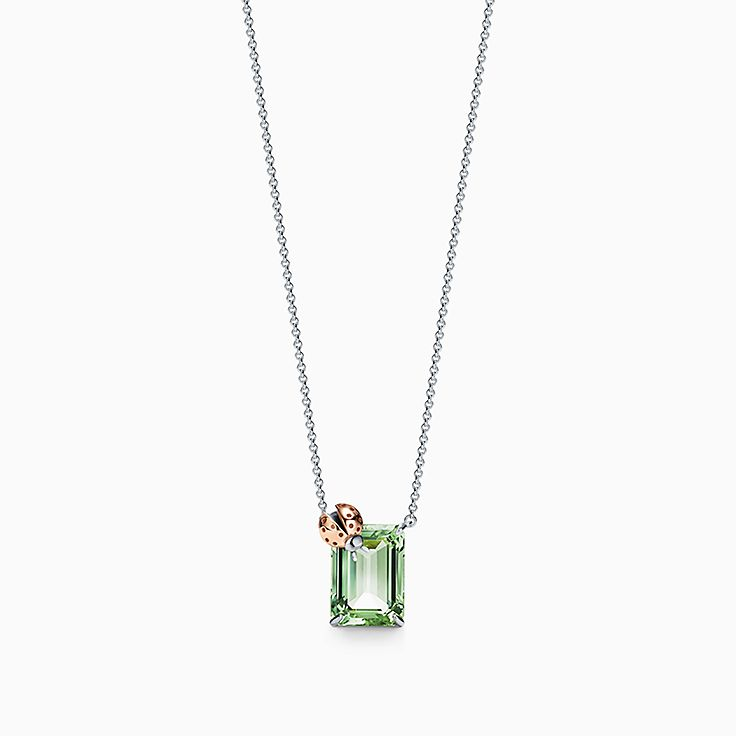 Return to Tiffany™ Love Bugs:Green Quartz Ladybug Pendant in Sterling Silver and 18k Rose Gold