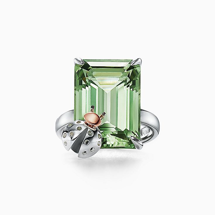 Return to Tiffany™ Love Bugs:Green Quartz Ladybug Ring in Sterling Silver and 18k Rose Gold