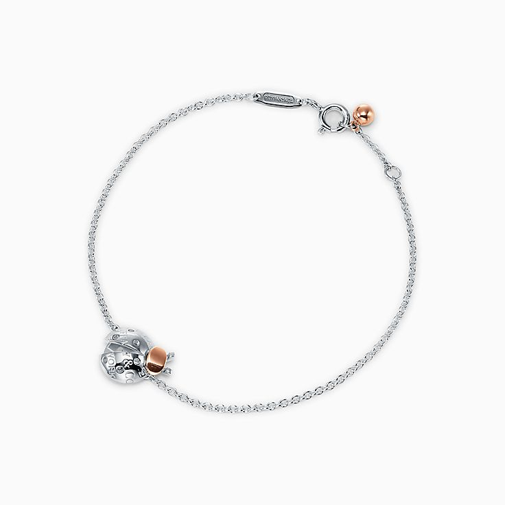 Return to Tiffany™ Love Bugs:Ladybug Chain Bracelet in Sterling Silver and 18k Rose Gold