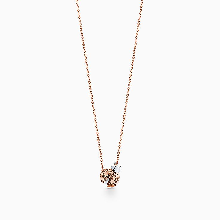 Return to Tiffany® Love Bugs:Ladybug Pendant in 18k Rose Gold and Sterling Silver