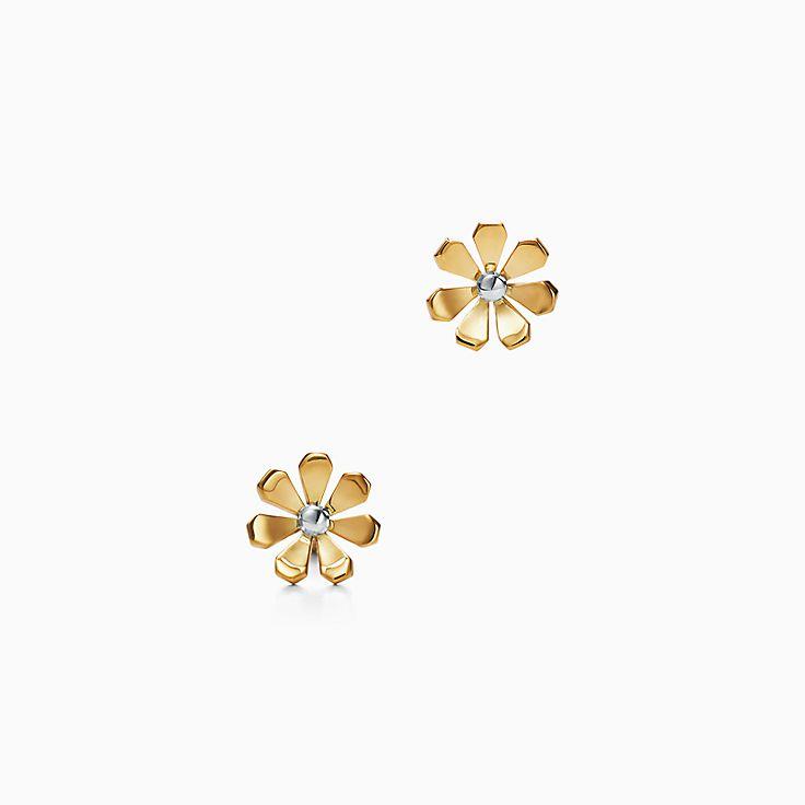 Return to Tiffany™ Love Bugs:Pendientes de margarita en oro de 18 ct y plata de ley