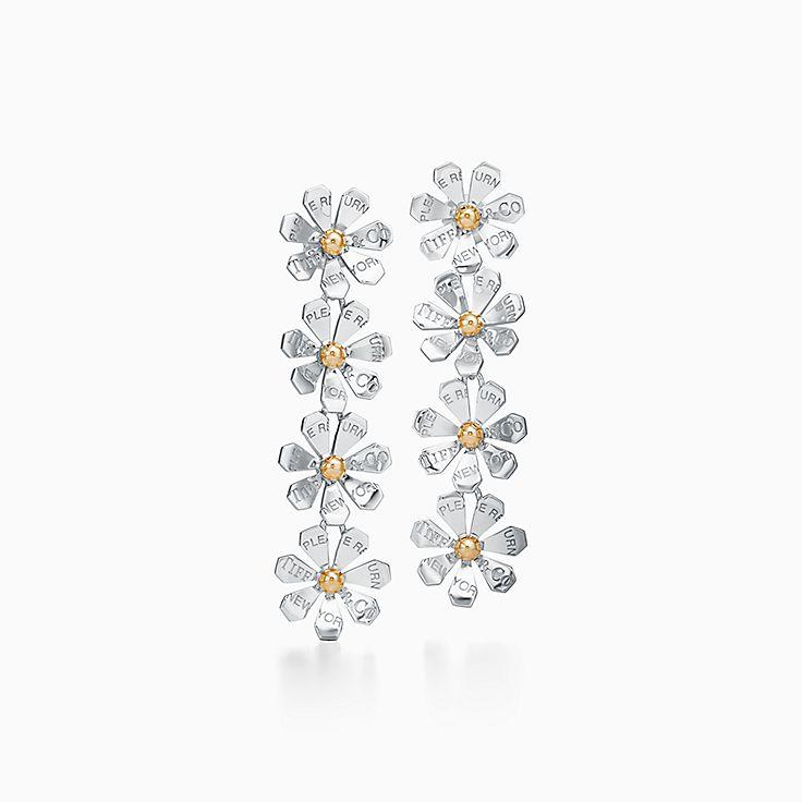Return to Tiffany™ Love Bugs:Pendientes largos de margarita en plata de ley y oro de 18 ct