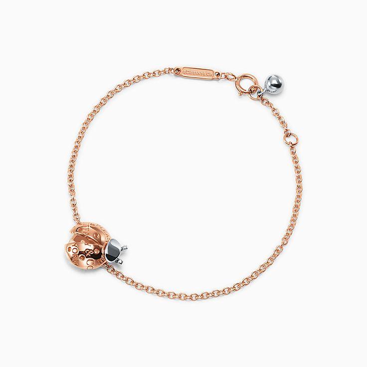 Return to Tiffany™ Love Bugs:Pulseira de elos Ladybug em ouro rosa 18k e prata de lei