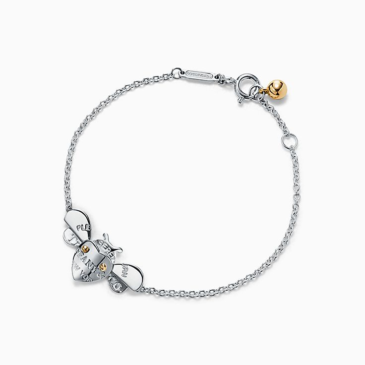 Return to Tiffany™ Love Bugs:Pulsera de cadena con abeja en plata de ley y oro de 18 ct