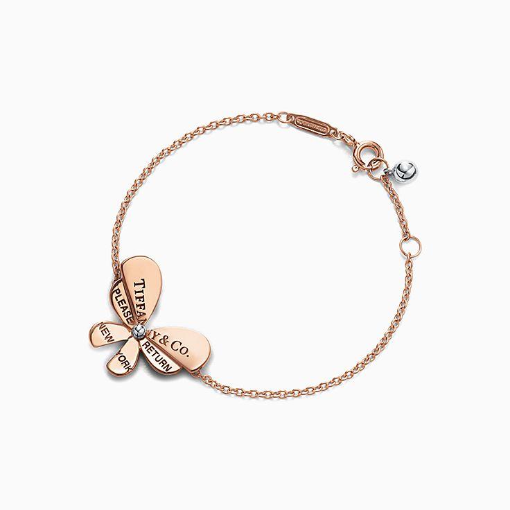 Return to Tiffany™ Love Bugs:Pulsera de cadena con mariposa en oro rosa de 18 ct y plata de ley