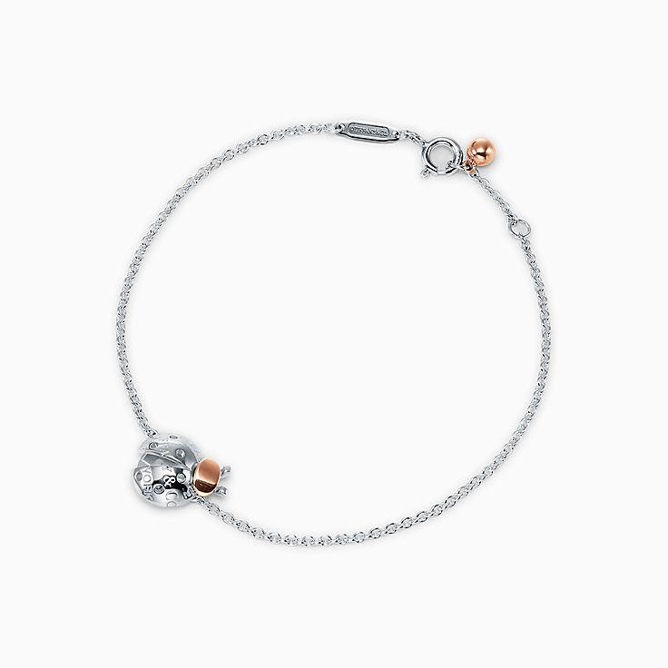 Return to Tiffany™ Love Bugs:Pulsera de cadena con mariquita en plata de ley y oro rosa de 18 ct