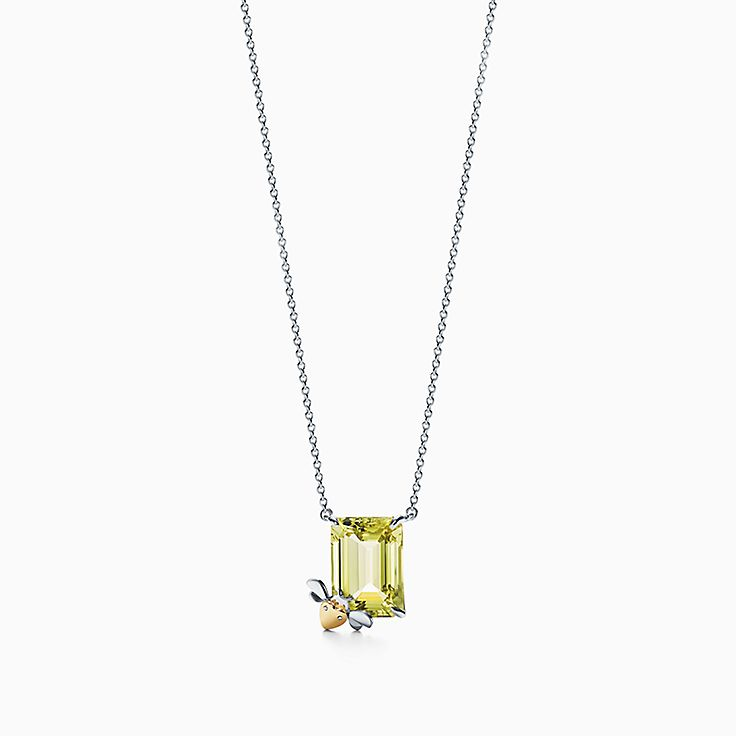Return to Tiffany™ Love Bugs:Yellow Quartz Bee Pendant in Sterling Silver and 18k Gold